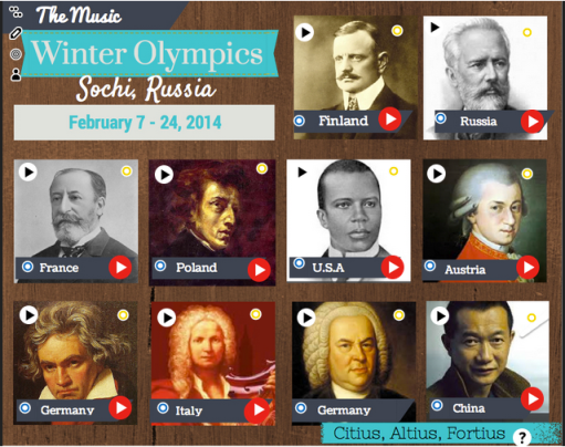 The Music Winter Olympics ThingLink Page